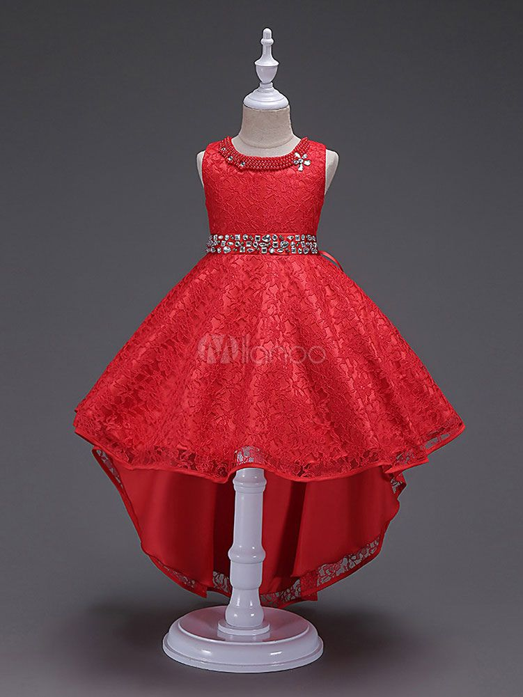 92cb1146d Flower Girl Dresses Red Lace Princess Pageant Dresses Beading Kids ...