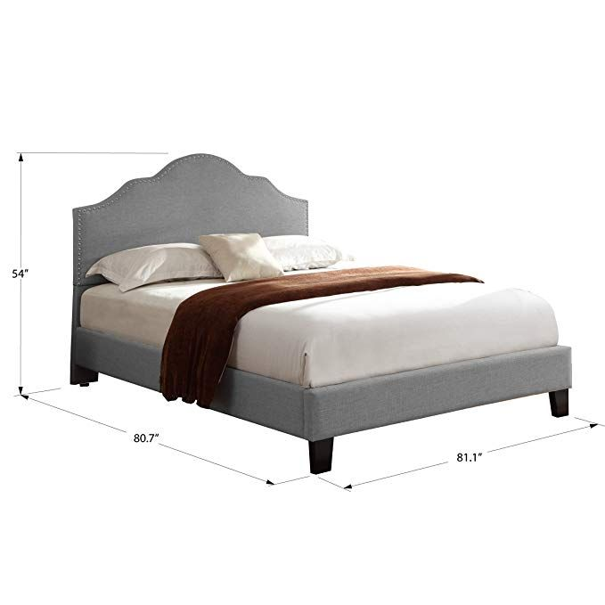 f528aaf16d00 Amazon.com: Artum Hill BE4-795 Victoria Upholstered Bed, King, Light Gray:  Kitchen & Dining