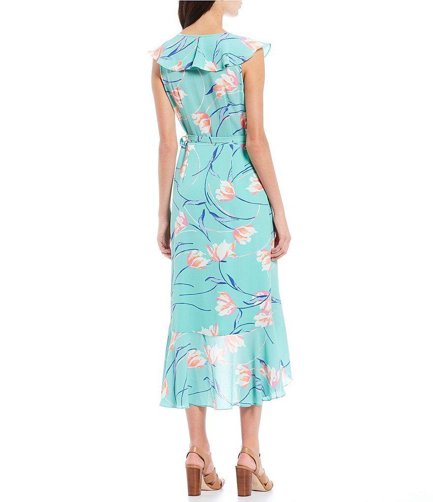 77af5c5b375 Donna Morgan Floral Print Ruffle Midi Length Wrap Dress  Sponsored  Floral