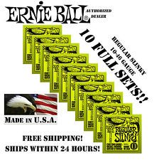 * 10 Pack Ernie Ball Regular Slinky 10-46 Guitarra Eléctrica Cuerdas 2221 (10 Sets) *