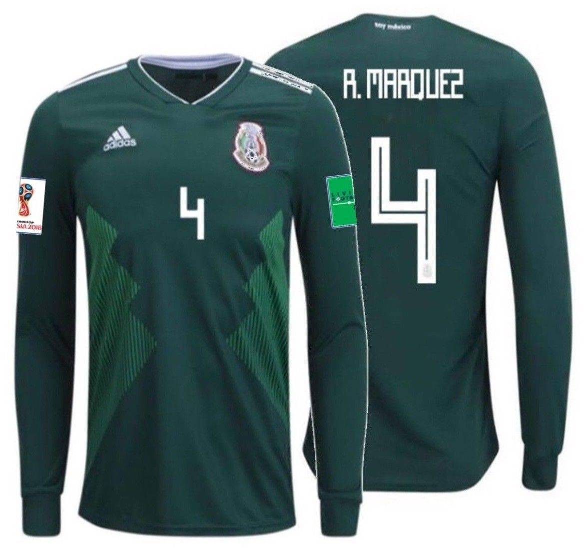 26e7b5f28 ADIDAS RAFAEL MARQUEZ MEXICO LONG SLEEVE HOME JERSEY WORLD CUP 2018 PATCHES