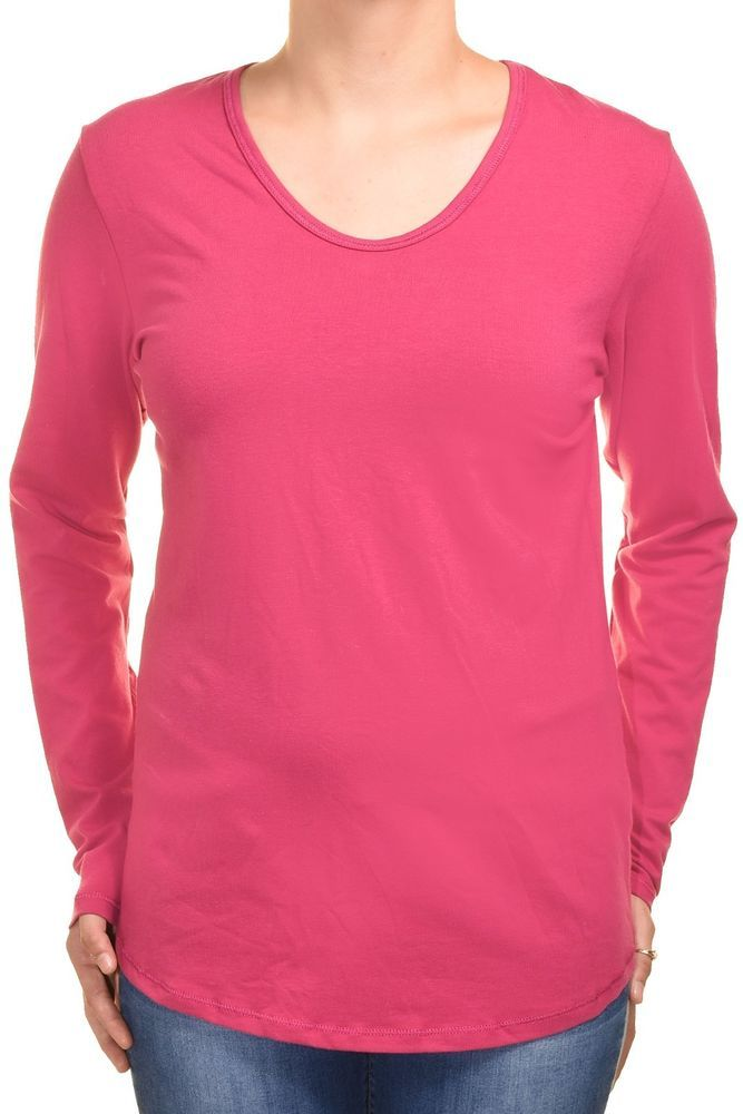 6b8a66653a48 HeirLoom Womens Long Sleeve Shirt Layering Tee Stretch S M L Scoop Neck Long  Top #HeirLoom #KnitTop #Casual #bright #pink #longsleeve #scoop #neck #shirt  ...
