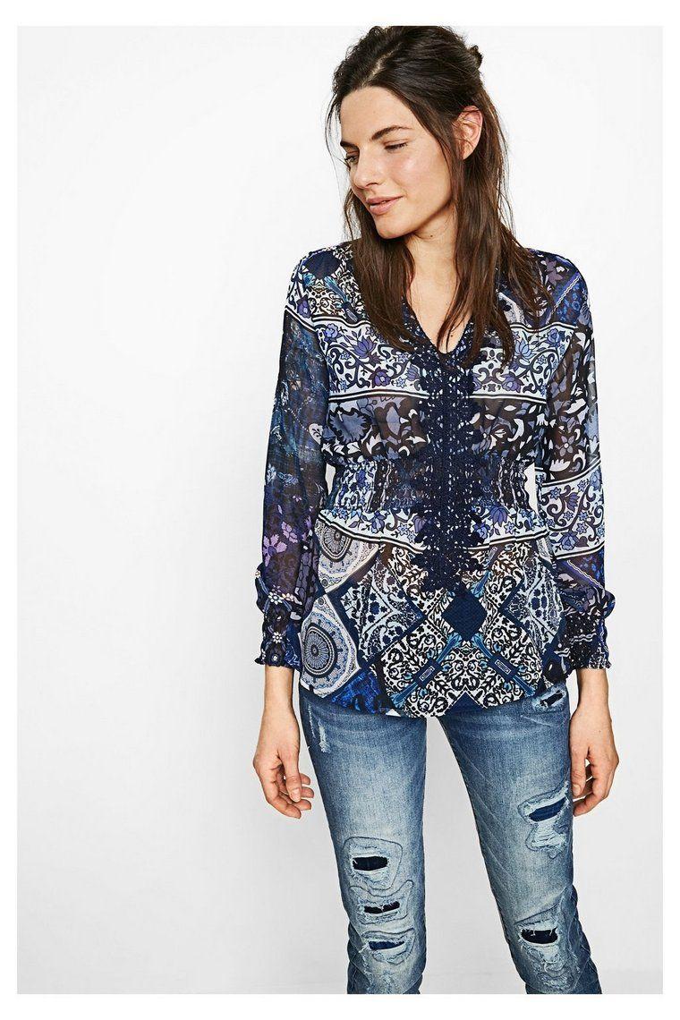 Blauwe blouse met lange mouwen Elo | Desigual.com B