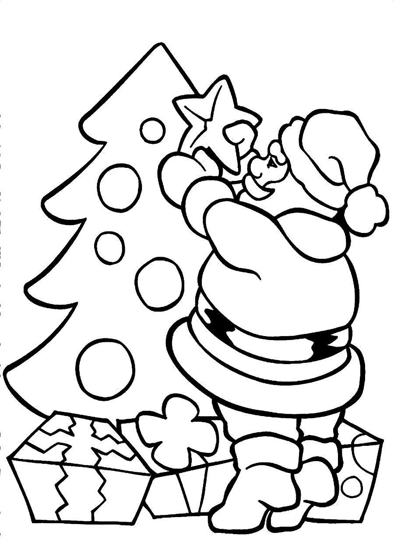 Santa Decorating Christmas Tree Coloring Page Santa Coloring Pages Printable Christmas Coloring Pages Tree Coloring Page