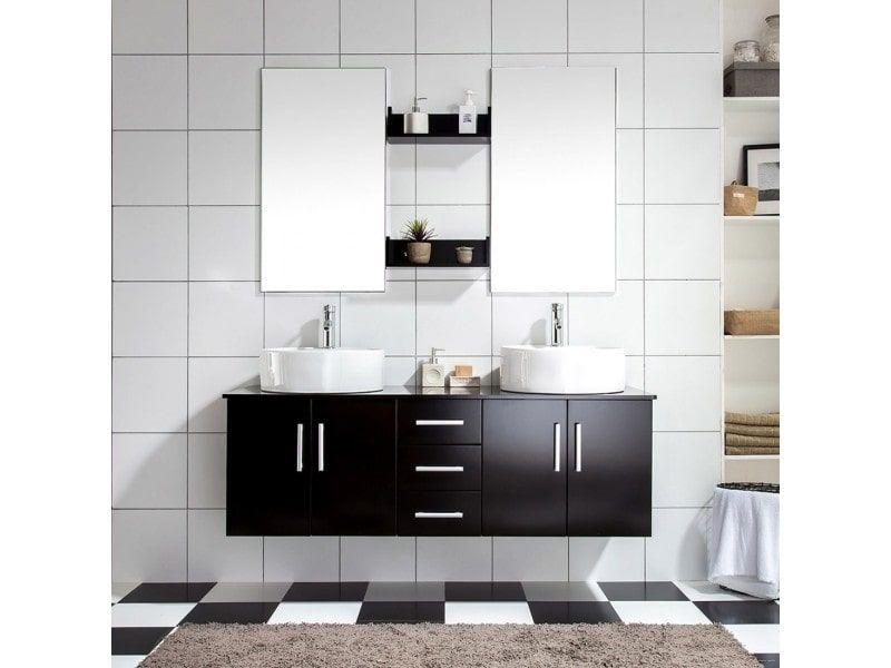 Ares wenge: ensemble salle de bains meuble + 2 vasques + 2 miroirs ...