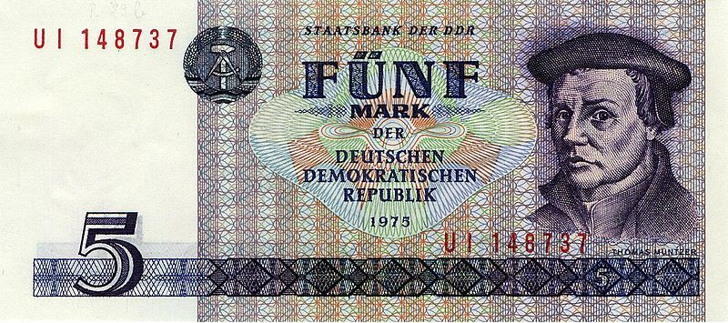 5 Mark der DDR (East Germany Mark) from 1975, depicting