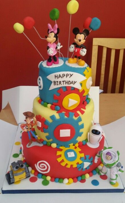 Disney character 3 tier birthday cake Kids cake ideas Pinterest
