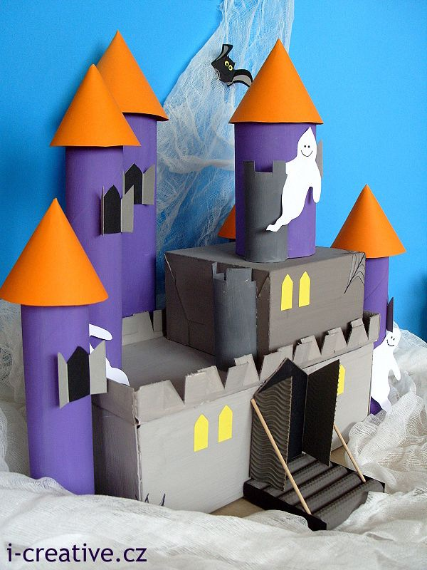 Shoe Box Dollhouse Craft For Kids: DIY Castle From Shoeboxes And Kitchen Paper Rolls / Hrad Z