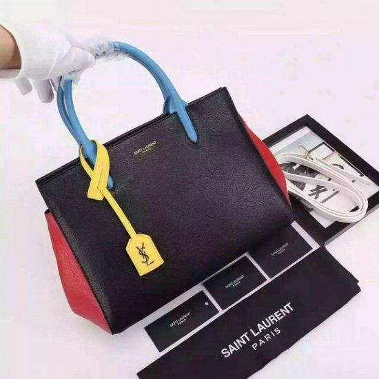 2016 Cheap YSL Small Cabas Rive Gauche Tote Bag in Multicolored Leather
