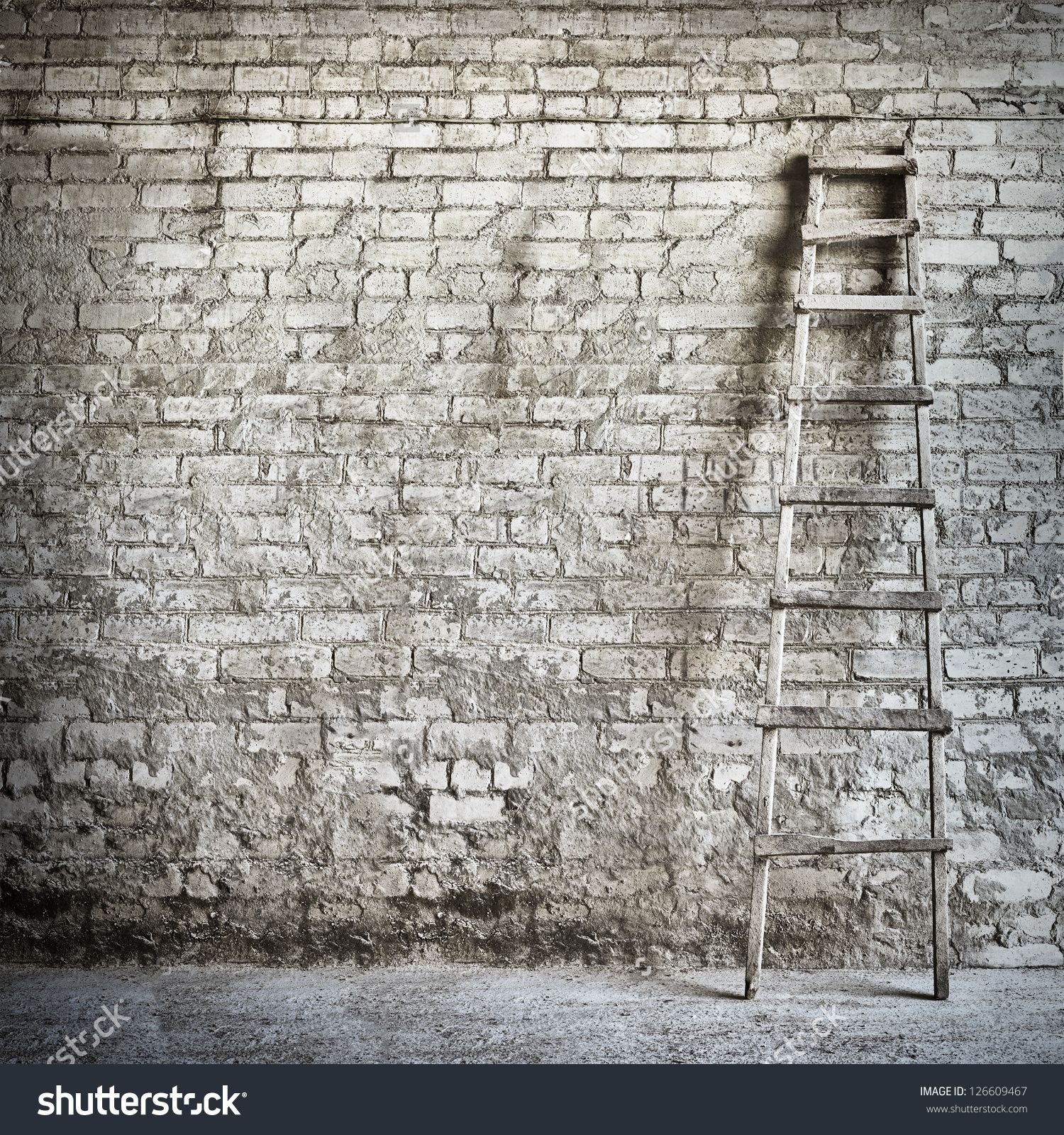Brick Wall Background Ladder Near Wall Stock Photo 126609467 Brick Wall Background Wall Background Brick Wall