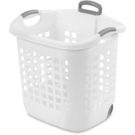 Sterilite 1 75 Bushel Wheel Laundry Basket White Available In Case Of 4 Or Single Unit Laundry Basket Plastic Laundry Basket Laundry Hamper With Wheels