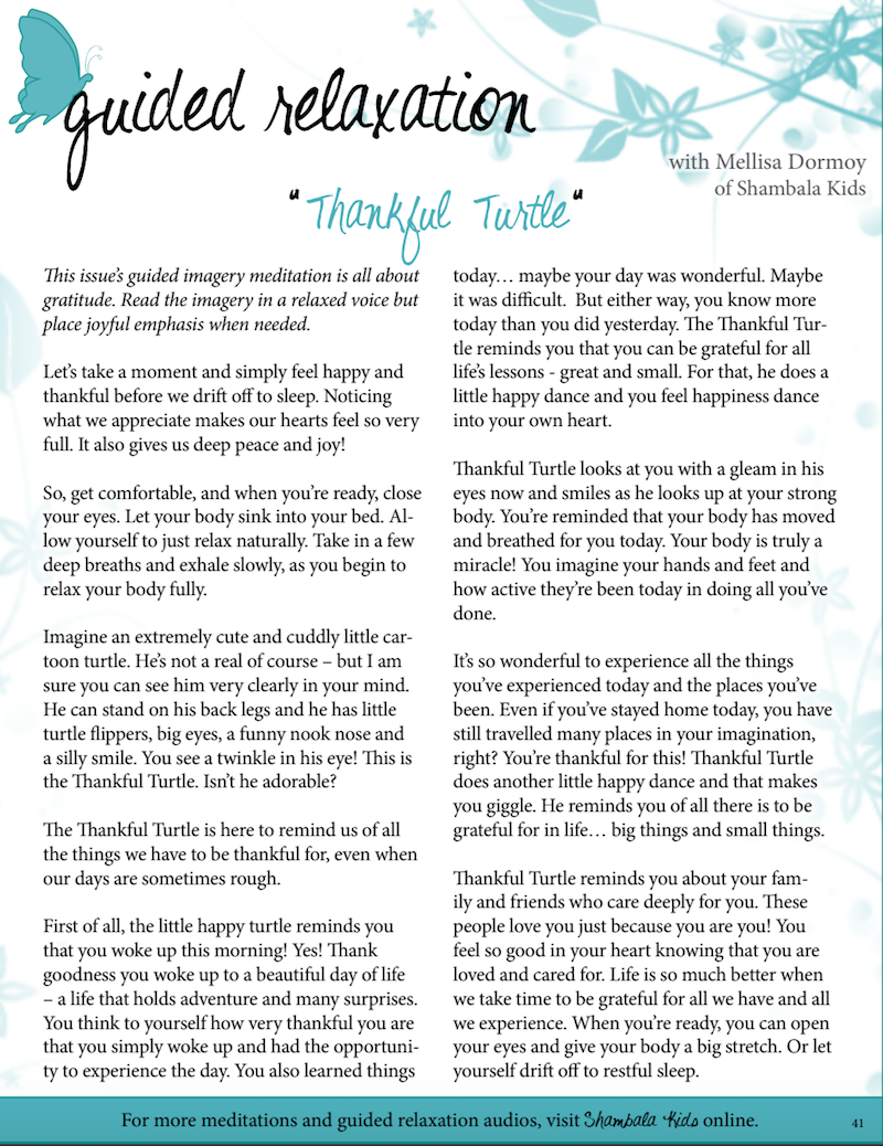 Guided Relaxation Script: The Thankful Turtle