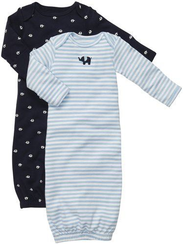 0880168aa42c Carter s Baby Boy Blue Stripe Elephant 2 Piece Gown Set Newborn ...