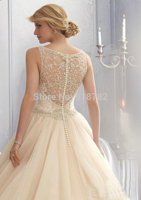 New Arrival 2014 Spaghetti Straps V Neckline Ball Gown Tulle Beaded Floor Length Court Train Wedding Dress Bridal Gown