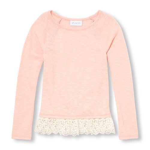 Girls Long Sleeve Lace Hem Sweater Knit Top Lace Hem Sweater Girls Long Sleeve Shirts For Girls