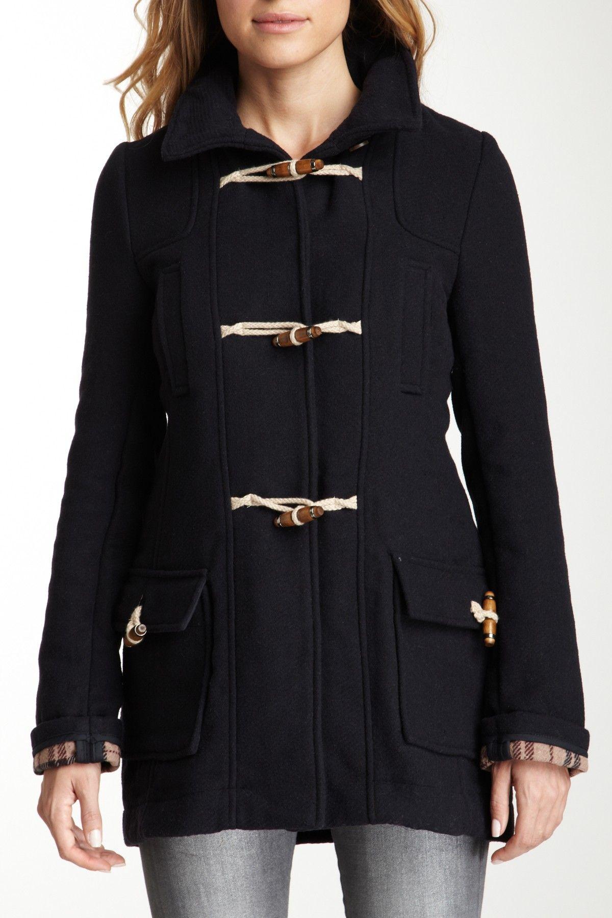 Wool Plaid Toggle Jacket