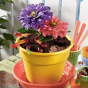 Flower Pot Dirt Cake 1 Pkg Oreos Crushed 16 Oz Cool Whip 8 Oz