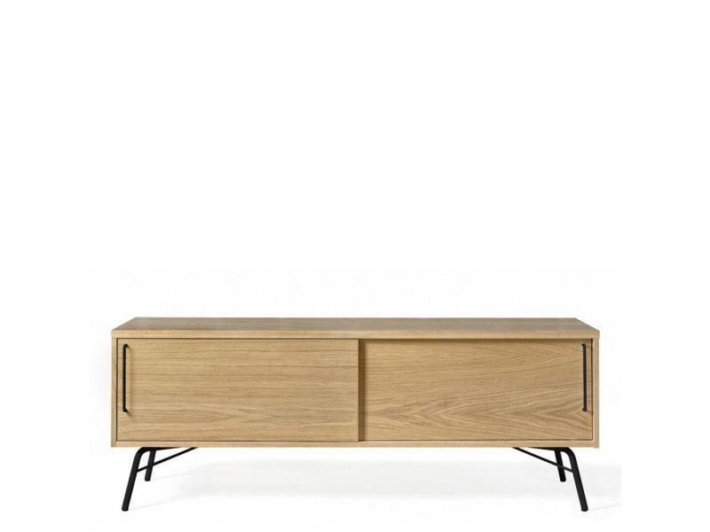 Meuble tv design bois et métal ashburn - couleur - noir 176224301134