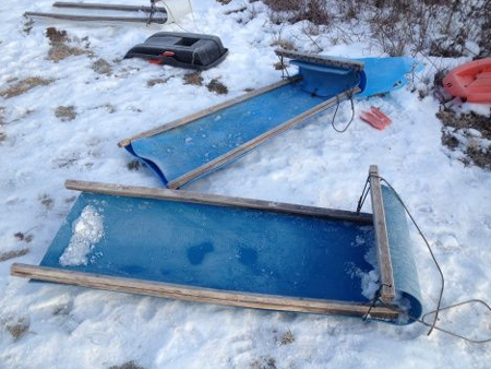 Sled Made From Plastic Barrel Blue Barrels Pinterest 55 Gallon