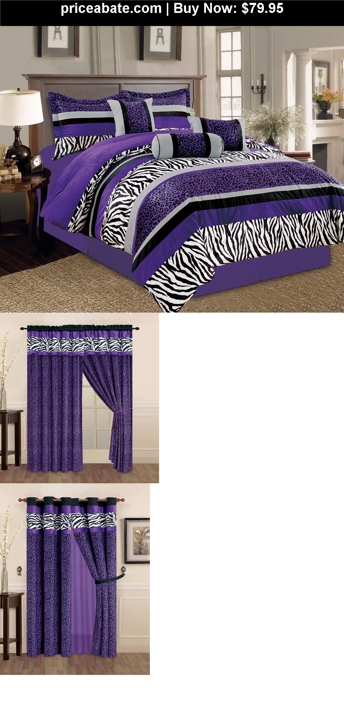 Bedding: 7 Pieces Purple Black White Leopard Zebra ...