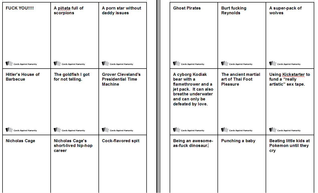 custom cards against humanity ideas Within Cards Against Humanity Template