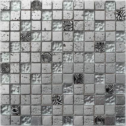 Mozaiek bonito 003 zilver mix 29 5x29 5cm praxis deze zilvermix is snel leverbaar komend - Badkamer tegelmat wit ...