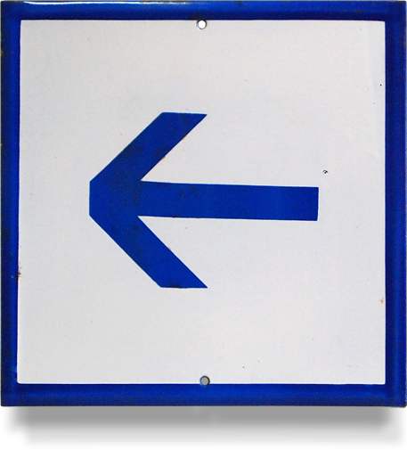 Mid1900s enamel blue and white directional arrow sign