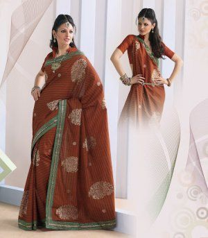 daa874b1184ed Rust Color Raw Silk Saree. Saree is crafted with Floral butties and keri  print. Fabric - Raw Silk. Color - Rust. Length of sarees with attached  blouse pc. ...