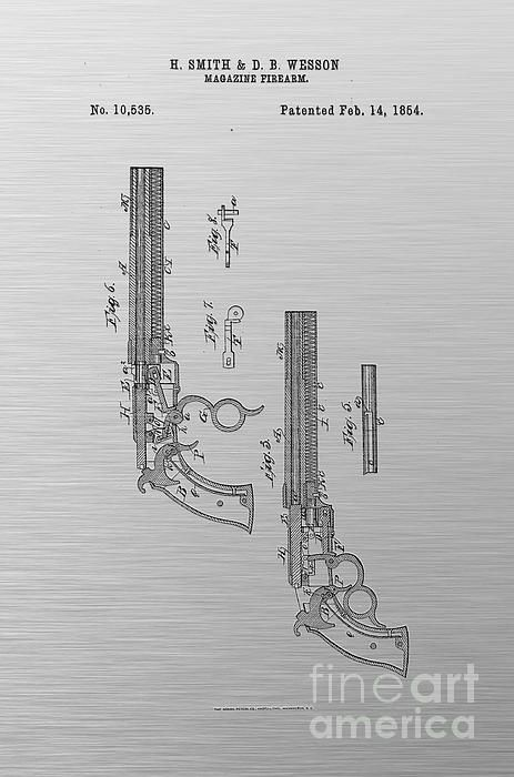 1854 smith and wesson magazine firearm gun patent art black on 1854 smith and wesson magazine firearm gun patent art black on textured silver gray malvernweather Gallery