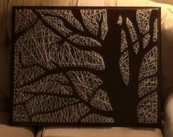 «Картина из гвоздей и ниток» Дерево