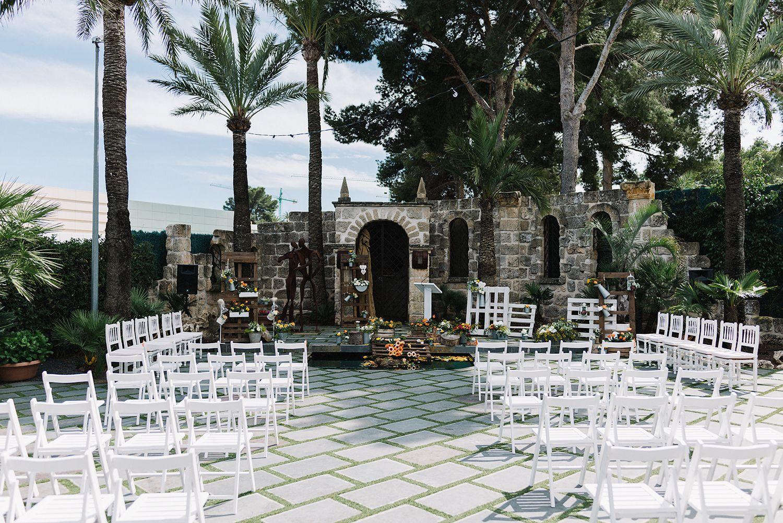 A wedding at a spanish villa outdoor ceremony spanish