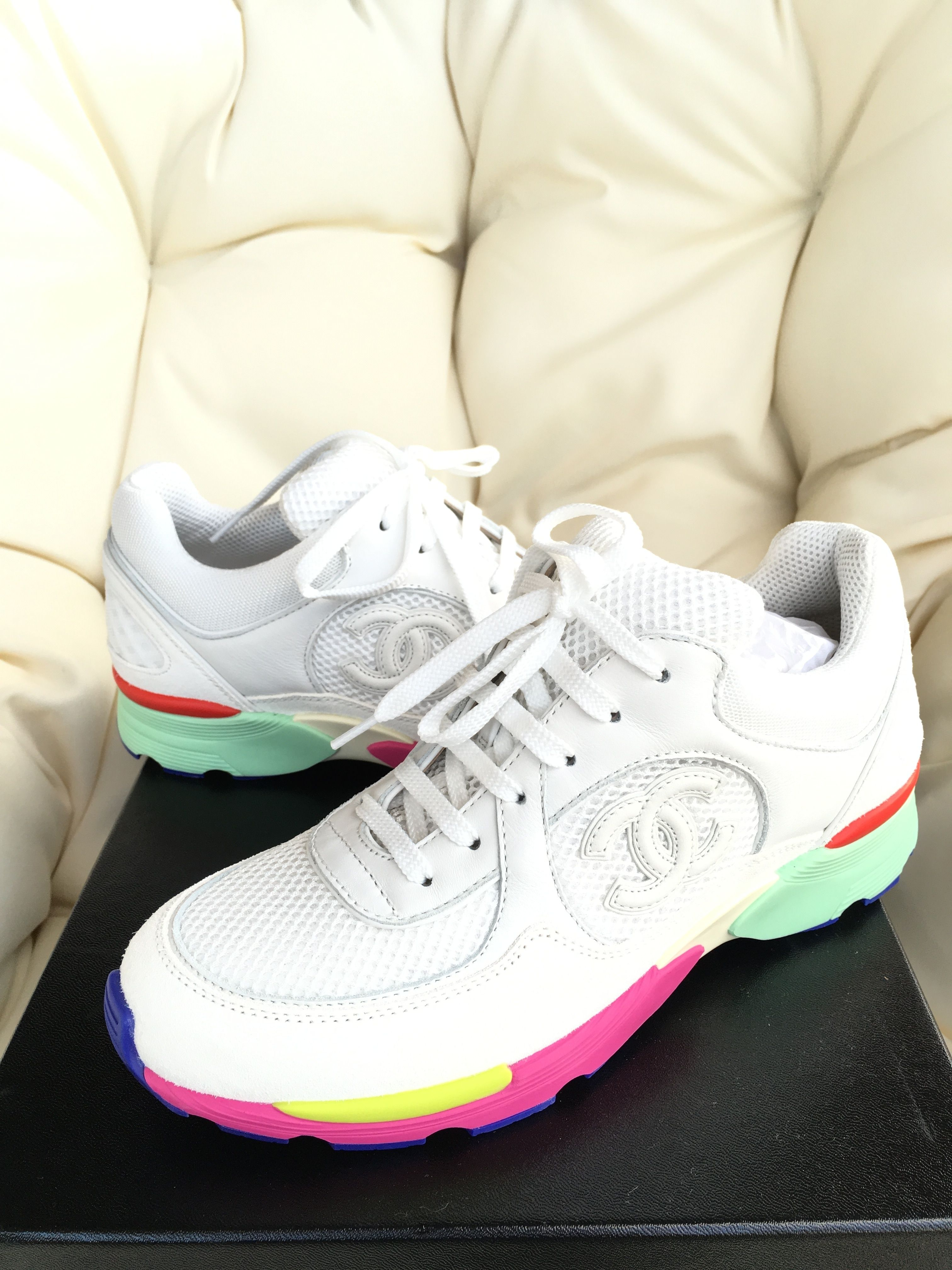 f712fd2af49 Chanel 2015 Cc Logo Suede Sneakers Tennis Trainers Rainbow Multi 37 White Athletic  Shoes. Get the must-have athletic shoes of this season!