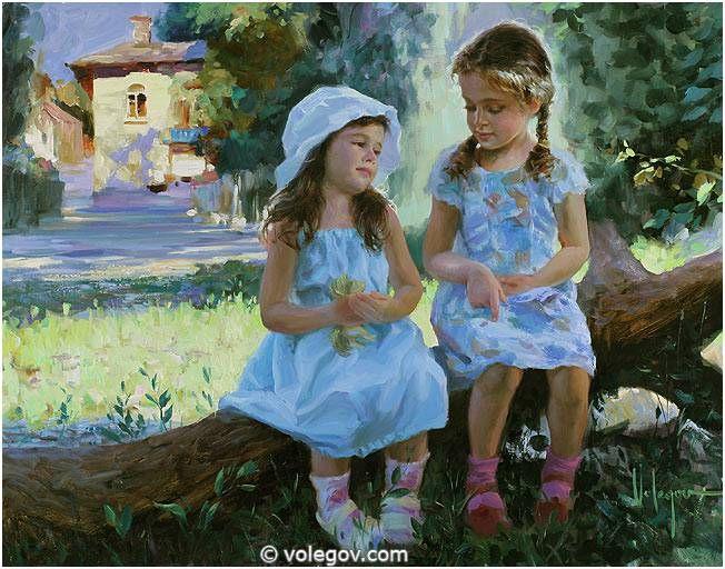 Bambini Dipinti ~ Two friends ~ vladimir volegov ~ russian 1957 art vladimir