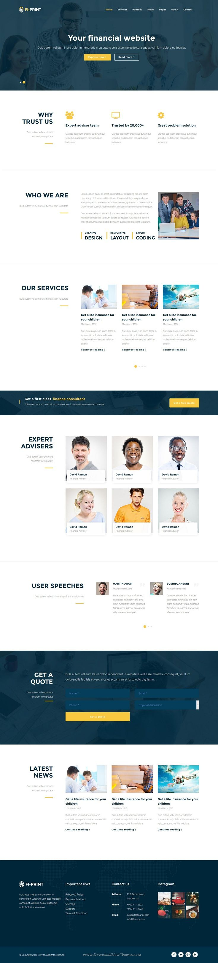 Fi-Print is perfect bootstrap template for corporate website like Financial…