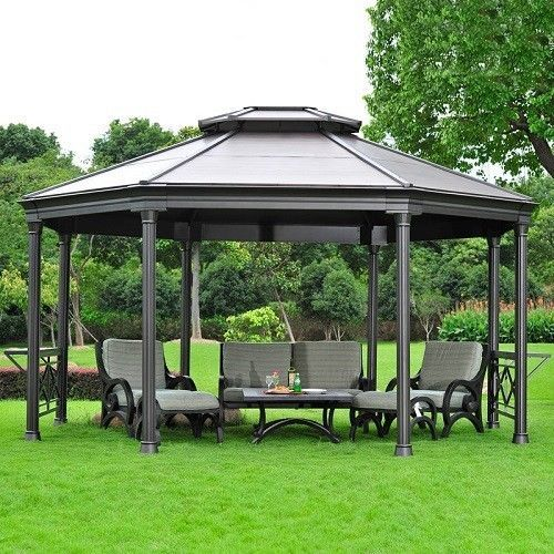 Outdoor Aluminium Gazebo Garden Patio Pergola Sun Shade ...