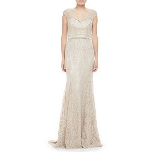 Theia Women's CAP SLV VNECK LACE GOWN - Champagne (0)