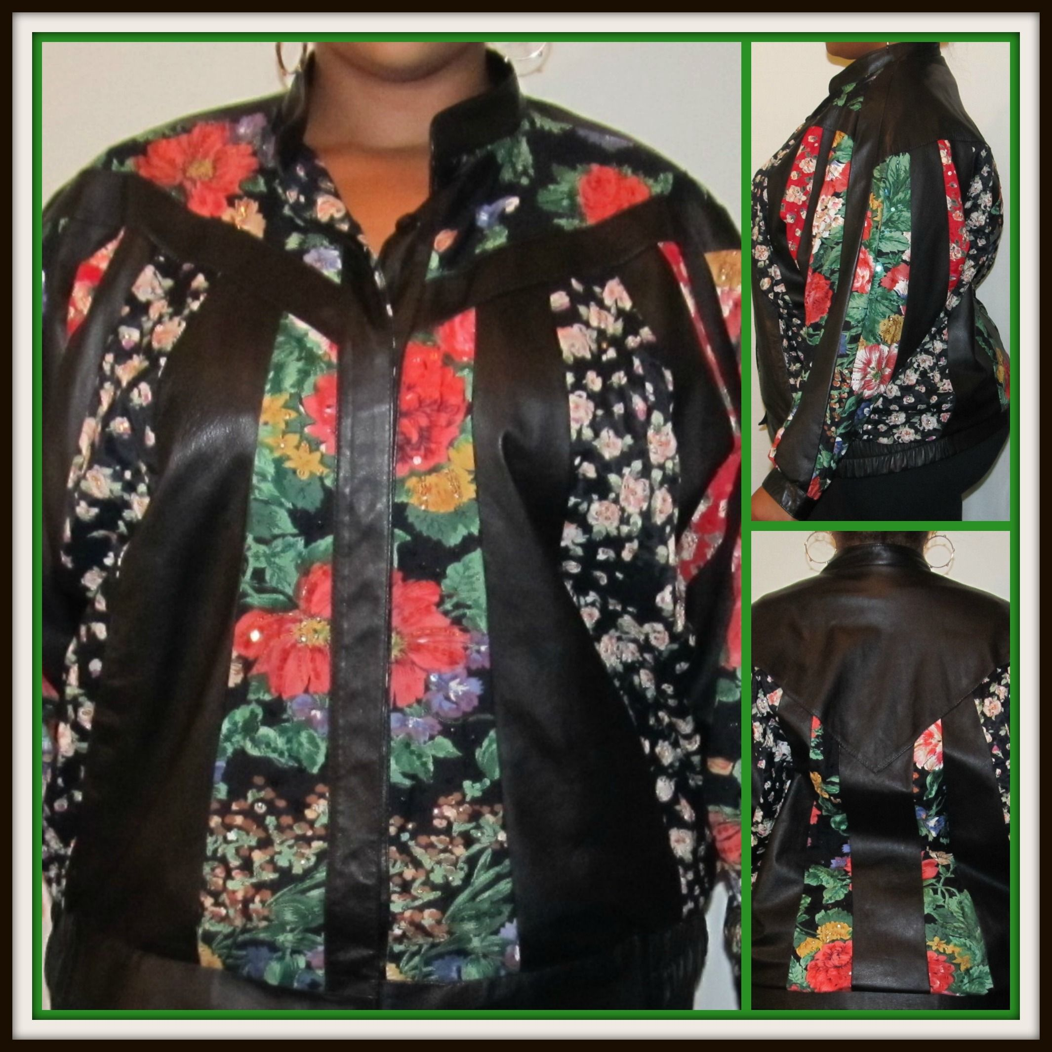 """Vintage Black Leather Jacket With Multi-Color Floral Design, -Size 2x by Judith Ann Plus -Leather and Rayon Lining -Beads and sequin throughout -Width-35""""/Length 31"""" -Velcro clasp at bottom of sleeves-#plus #size-$35.70"""