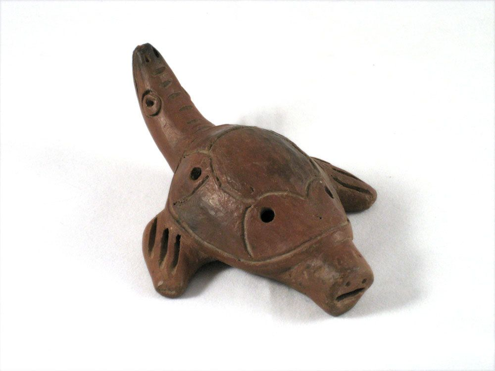 Folk Art Turtle Whistle Vintage Ocarina Flute - Clay ...