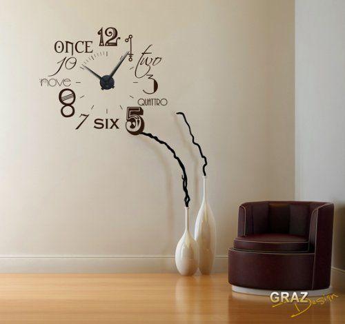 Vinilo de pared Decoración de pared con reloj número - wanduhren wohnzimmer modern