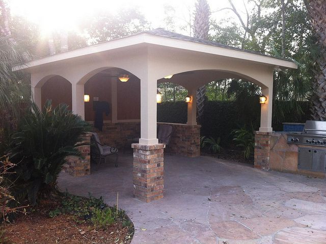 Freestanding patio cover and outdoor kitchen i would for Brick carport designs
