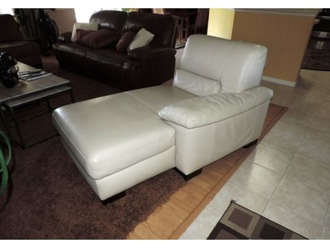 Italsofa Cream Leather Chaise Lounge