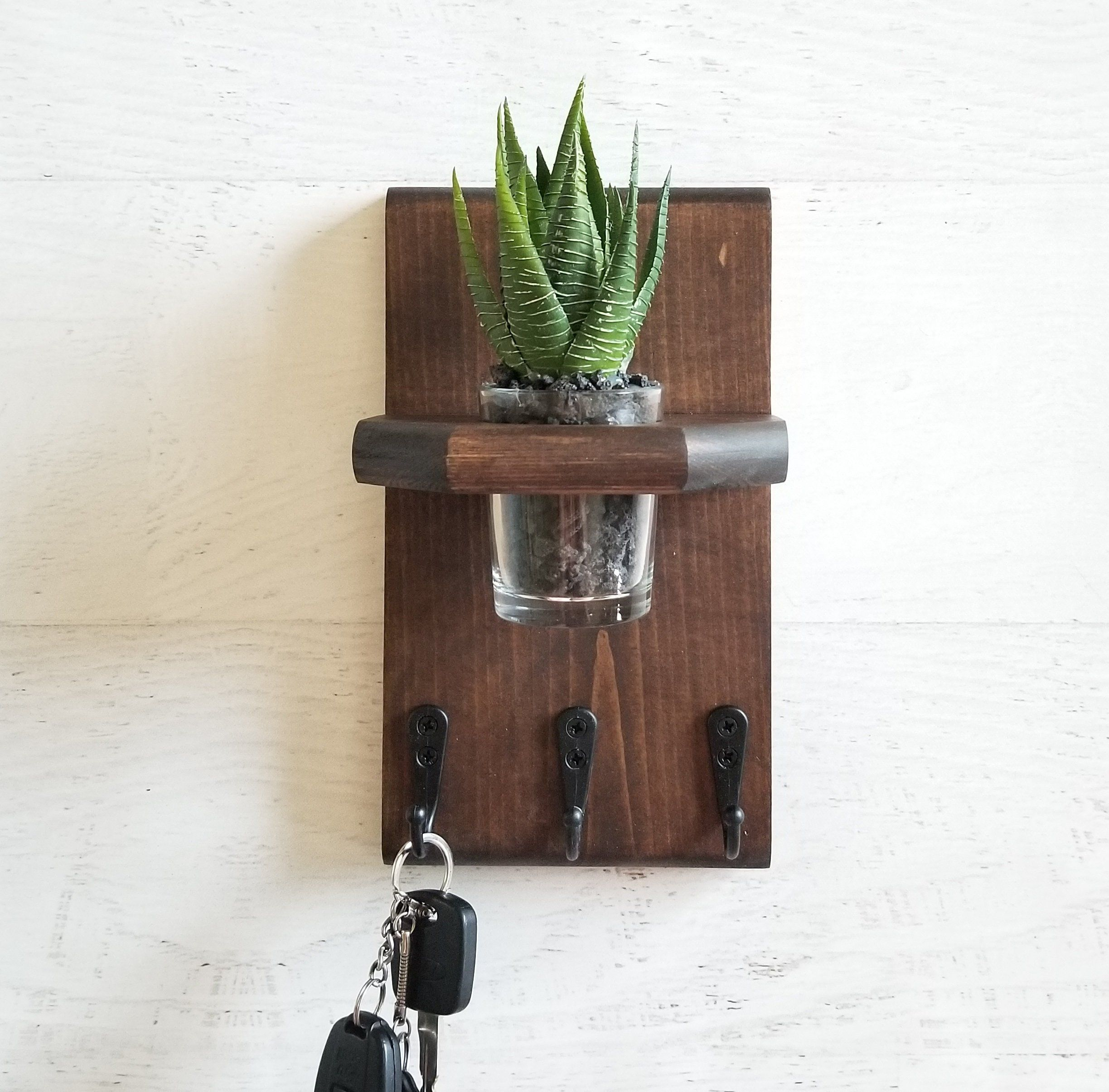 Key Holder For Wall With Bud Vase Entryway Wall Hooks Wall Etsy Wall Key Holder Key Holder Diy Key Holder
