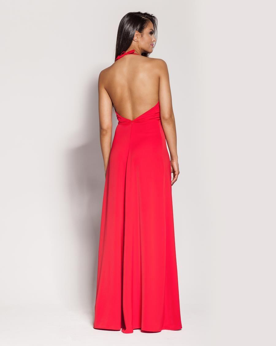 Czerwona długa sukienka z odkrytymi plecami w Suknie i