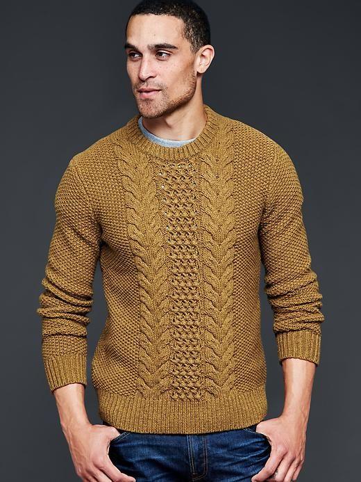 Marled chunky cableknit crew sweater | Gap