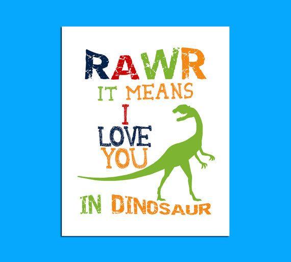 Dinosaur Wall Art printable art rawr means i love you in dinosaur dinosaur wall art