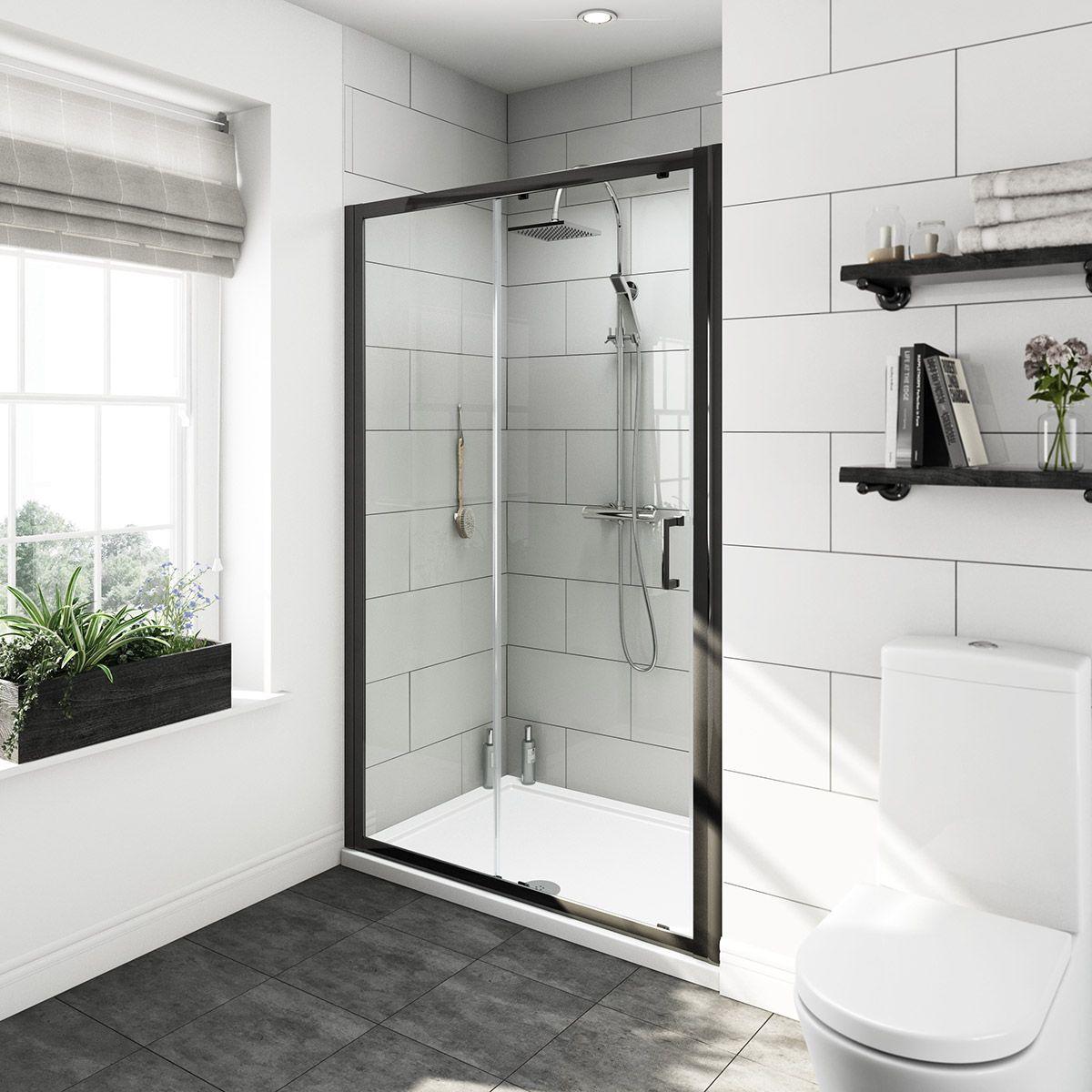 Mode Tate black 6mm sliding shower door 1200mm Shower