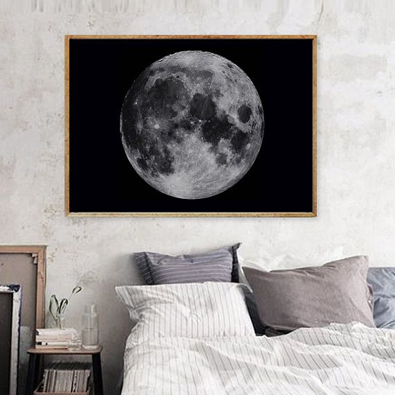 Title: Moon Art Print - Bohemian Home Decor    Hang it on the wall of your home or the workspace and beyond.    Size Available : A3 SIZE (with