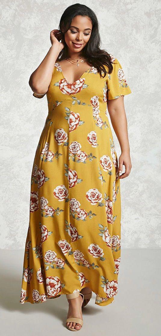 Plus Size Floral Maxi Dress Con Imagenes Vestidos Casuales Para Gorditas