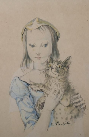 Tsuguharu Foujita (1886-1968) - Girl with kitten - India ink and watercolor