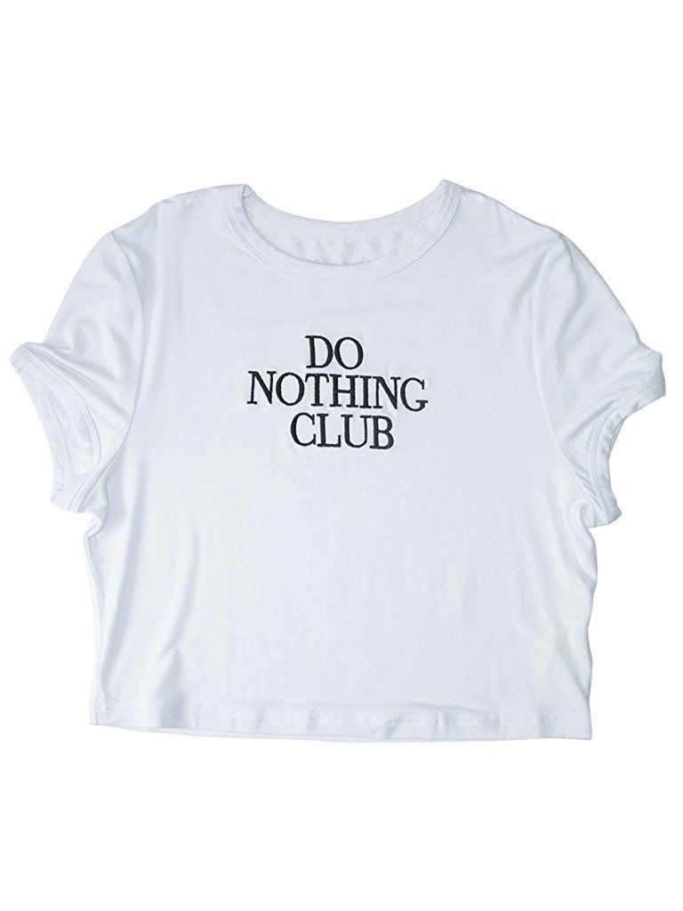 f7bb898e0edaee PERSUN Juniors Casual Black Just Do It Later Cotton Cropped Tee Top at Amazon  Women s Clothing store